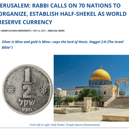Join the Nation of Ephraim to Organise and Establish Silver as World Reserve Currency