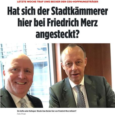 COVID-19 Infektion Kontakt Kette - Ephraim, Friedrich Merz, Uwe Becker FFM - Dominion - Merkel