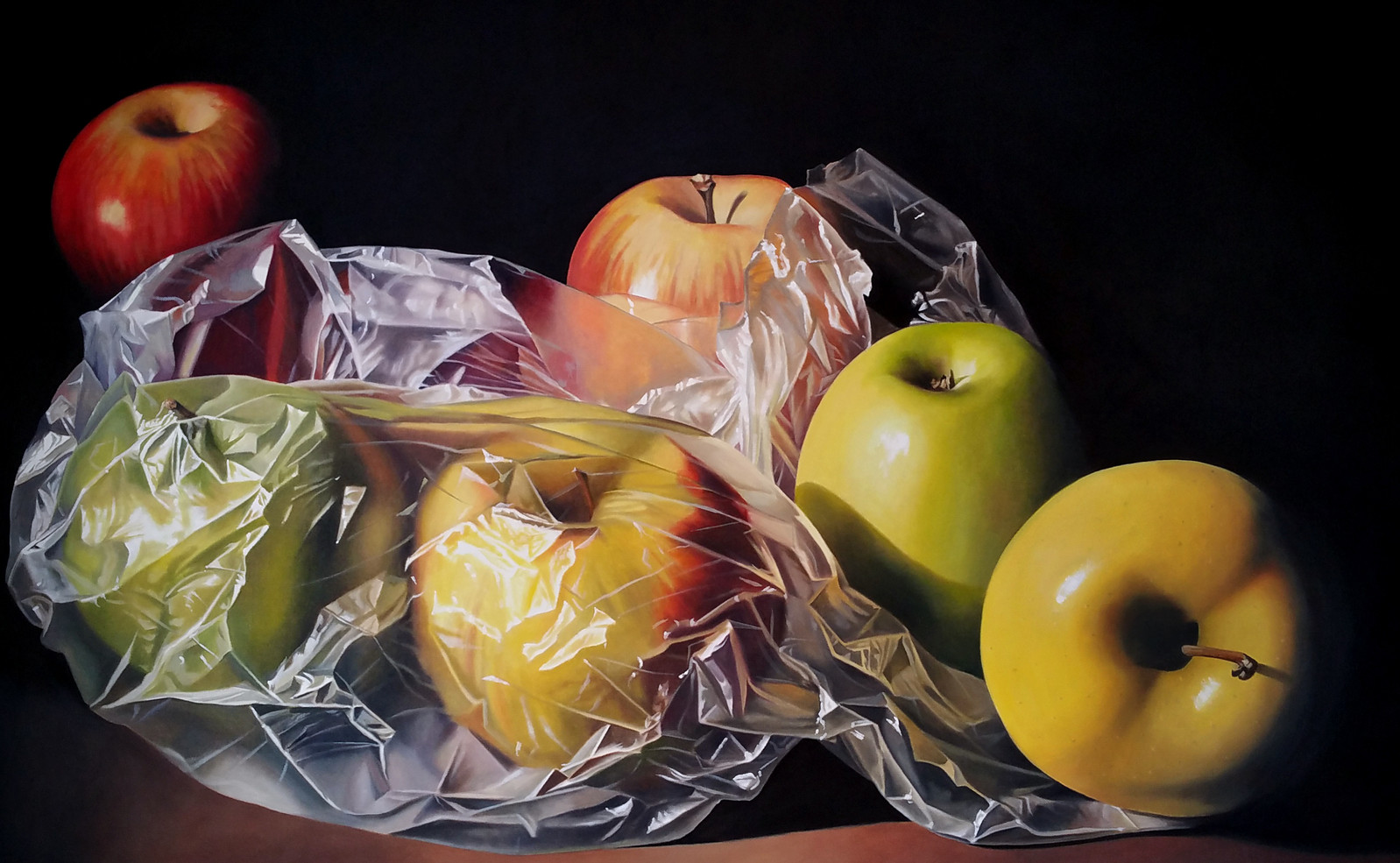 produce bag and apples