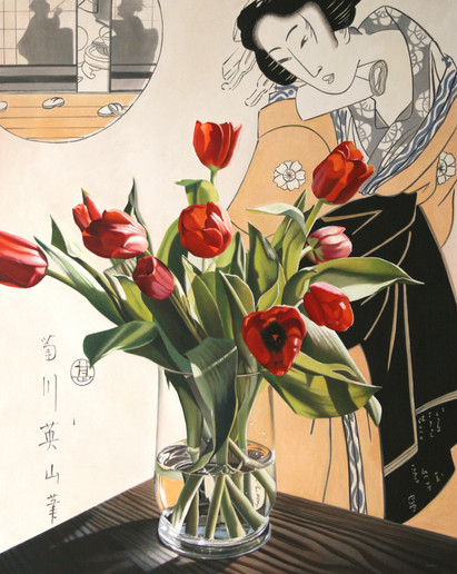 bijin with tulips