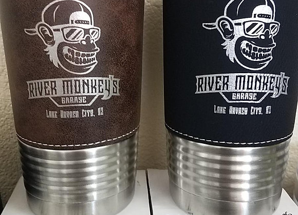 River Monkey's Leather Wrapped Insulated Coffee Cups
