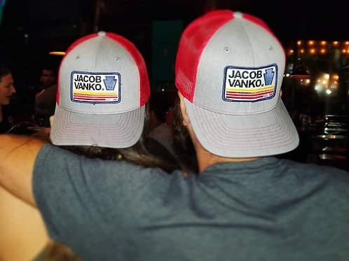 Heather Grey and Red Trucker Hat