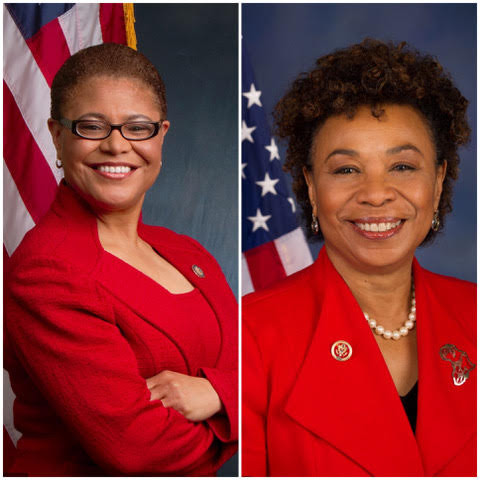 U.S.Rep Karen Bass (D-Los Angeles) Congressional Black Caucus, chair, U.S Rep. Barbra Lee (D-Oakland)