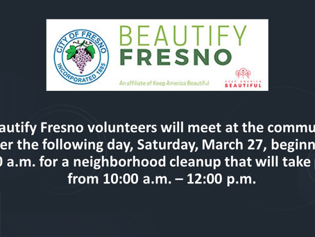Fresno: Mayor Dyer announced next neighborhood blitz event in District 3 this weekend