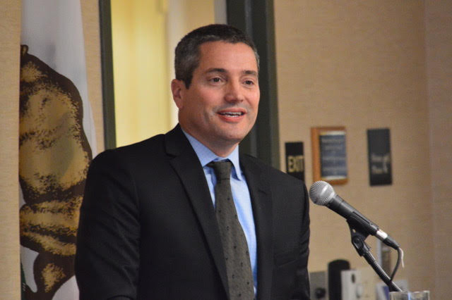 Wade Crowfoot, the states' Secretary for Natural Resources, explained to members of the California Black Chamber of Commerce how the governor's proposed water tax would work.   Photos by Antonio R. Harvey