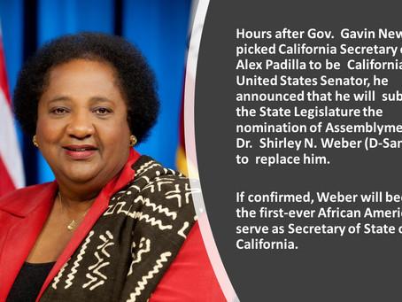 Gov. Newsom nominates CLBC Chair Dr. Shirley Weber Secretary of State
