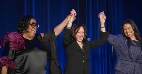 Photo By: Alain McLaughlin Amelia Ashley Ward, Publisher of the Sun Reporter stands with Sen. Kamala Harris and San Francisco Mayor London Breed at the 75th Anniversary of the Sun Reporter May 9, 2019.