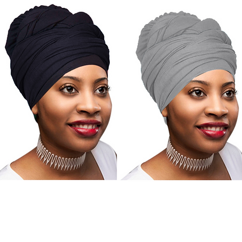 2 Pcs Black and Heather Grey Color Head Wrap Stretch Long Hair Scarf Turban Tie