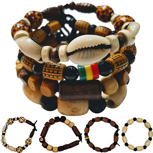 4 Pcs Wooden Beaded Bracelets Multi Layer Stackable EthnicAfrican Bracelets