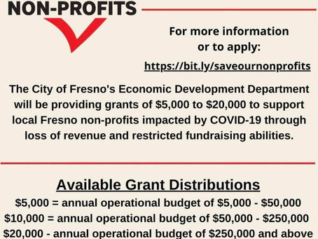 FRESNO DUE TOMORROW:  Save Our Non-Profits Grant Program -- you can still apply right now ...