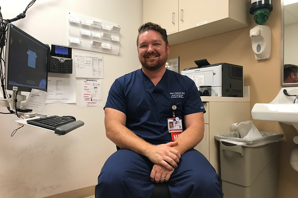 Dr. John Coburn, an emergency physician at Kaiser Permanente in Sacramento, Calif., says his department sees the cannabis-related vomiting illness every day. (Pauline Bartolone/California Healthline)