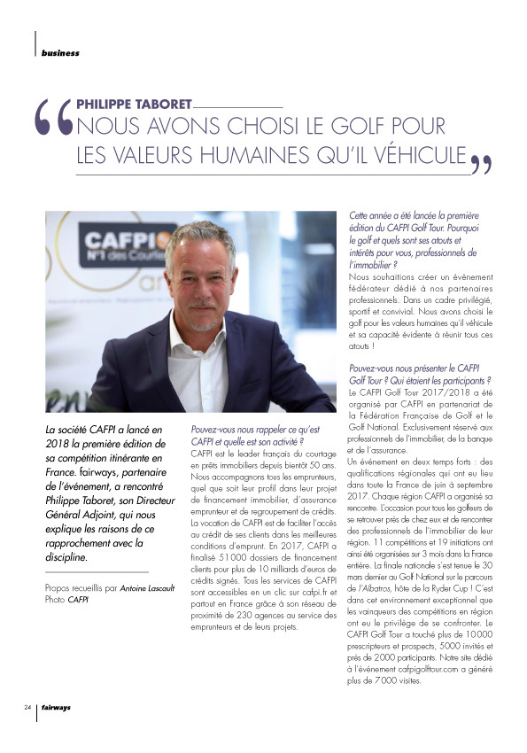 FAIRWAYS parle du CAFPI GOLF TOUR 2018