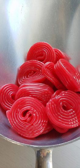 Strawberry Liquorice Wheels - 100 gr