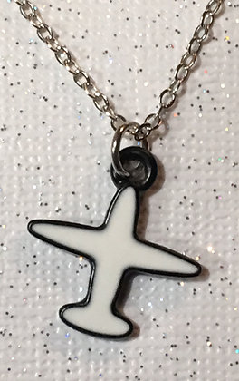 NA-180068 Black outlined white plane necklace