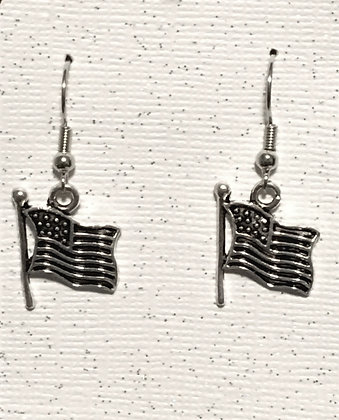 E-2000006 Silver America Flag earrings