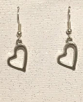 E-200015 Hanging silver heart earrings