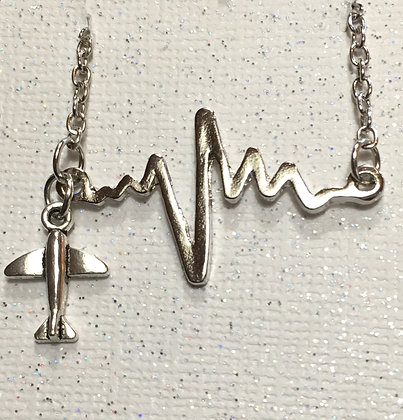 NA-170030 Heartbeat Necklace with Plane