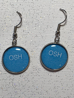 EA-160079 Blue Round OSH Earrings