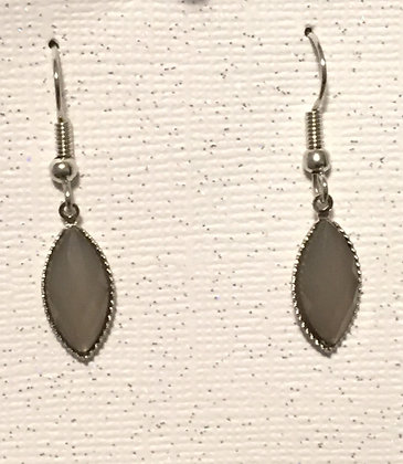 E-200027 Gray glass silver earrings