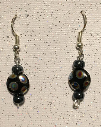 E-2000040 Black glass beads with small black beads