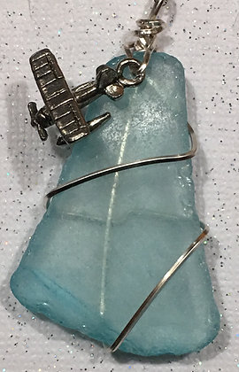 NS-180076 Aqua sea glass with Float Plane necklace