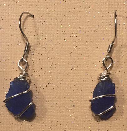 ES-180104 Blue Sea Glass Earrings
