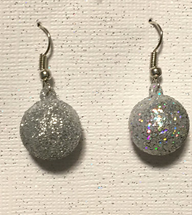 E-200043 Sliver glitter ball earrings