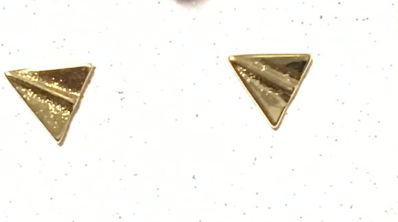 EA-200055 Tiny gold Paper Airplane post earrings