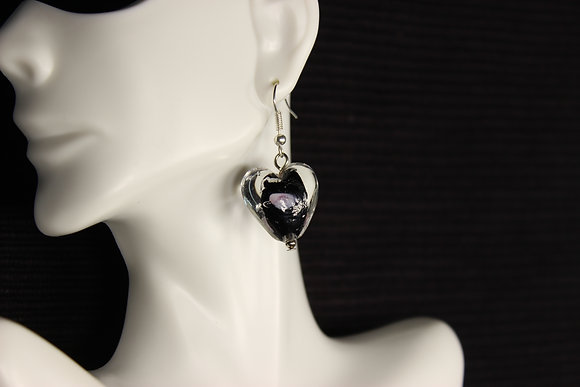 E-160014 Black Glass Heart