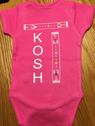 Pink Onesie with white lettering KOSH with dots