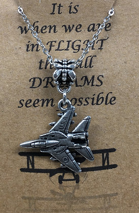 NA-160026 Wing Hanging Fighter Jet Necklace
