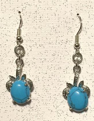 E-200018 Blue Green silver glass turtle earrings