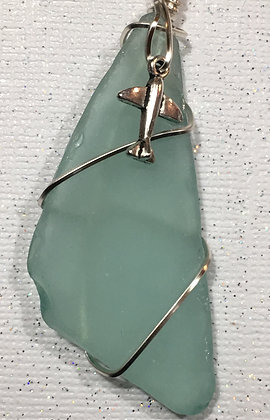 NS-180075 Aqua sea glass with small plane necklace
