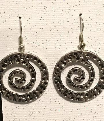 E-200019 Large silver swirl earrings