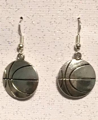 E-2000001 Large silver Basketball earrings