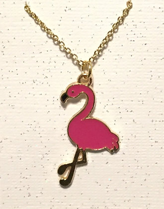 N-200078 Gold Pink Flamingo necklace
