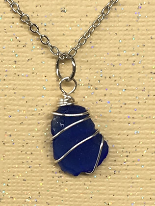NS-180041 Blue Sea Glass necklace