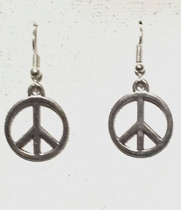 E-200008 Silver Peace Sign earrings