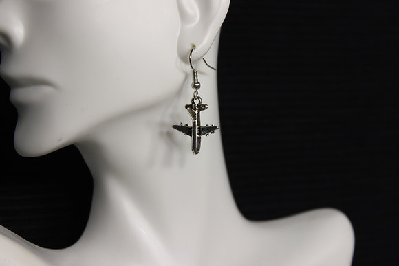 EA-160022 Tail Hanging Jet Earrings