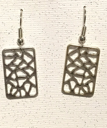 E-200016 Square silver mesh earrings