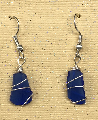 ES-180100 Blue Sea Glass Earrings