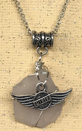 NS-180045 White Sea Glass w/Pilot Wings Necklace