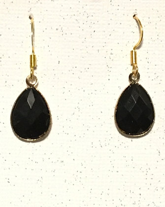 E-200028 Black and gold teardrop earrings