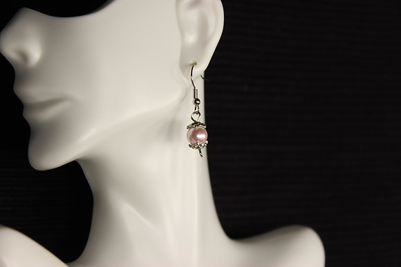 E-160016 Pink Bead Silver Top and Bottom