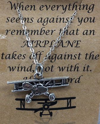 NA-160018 2D Biplane Necklace