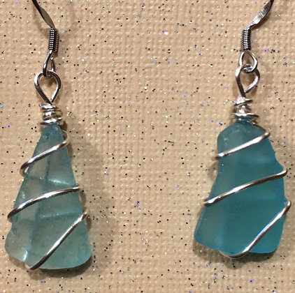 ES-180108 Green Sea Glass earrings