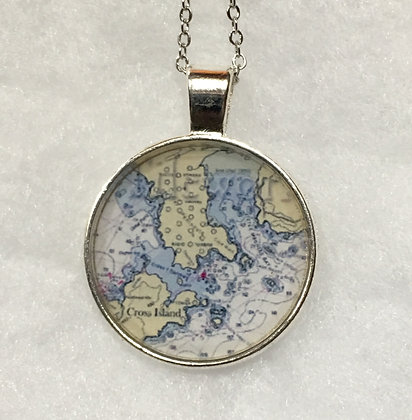 NC-170037 Silver Nautical Chart Pendant (custom)