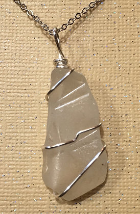 NS-180063 White Sea Glass necklace