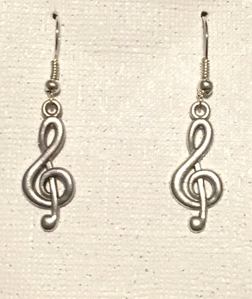 E-200013 Silver song note earrings