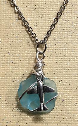 NS-180038 Aqua Blue Sea Glass Necklace w/plane